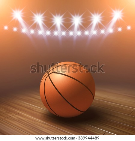 Ball on basketball court with spotlights , Sports arena