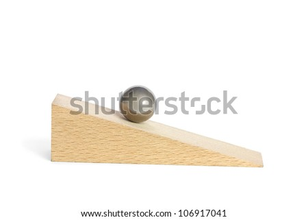 Ball on inclined plane - stock photo