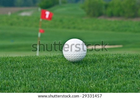 Ball on the golf course - stock photo