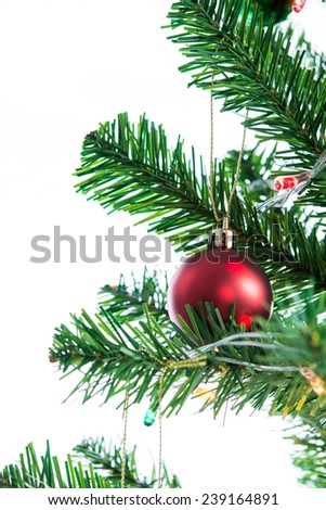 Ball on Tree Merry Christmas and Happy New Year on over white background - stock photo