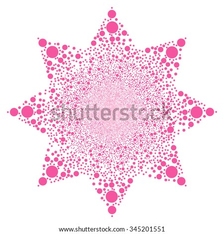 Ball Salute Flower glyph illustration. Style is pink flat balls, white background.