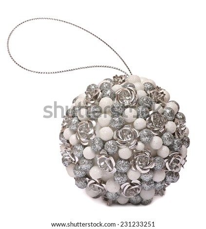 ball silver Christmas isolated on white background - stock photo