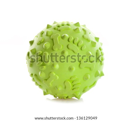 Ball toy for dog on white background - stock photo