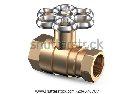 ball valve closeup isolated on white background - stock photo