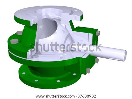 Ball valve illustration - stock photo