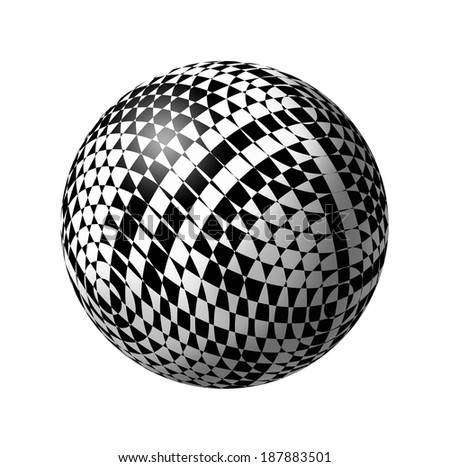 Ball with abstract chess pattern on a white background  - stock photo