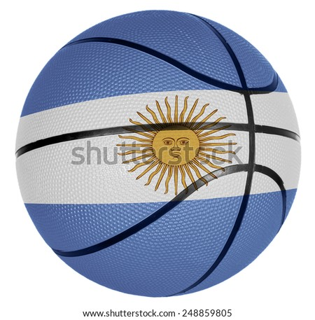 Ball with flag of Argentina for basketball game - stock photo