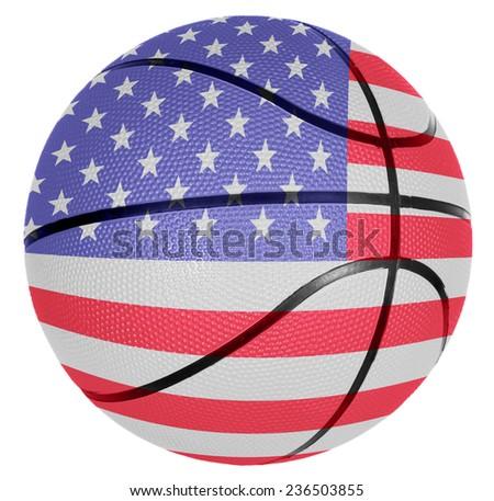 Ball with flag of USA for basketball game - stock photo