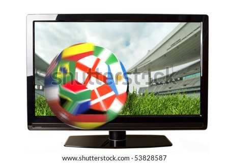 Ball with flags coming out of the TV screen - stock photo