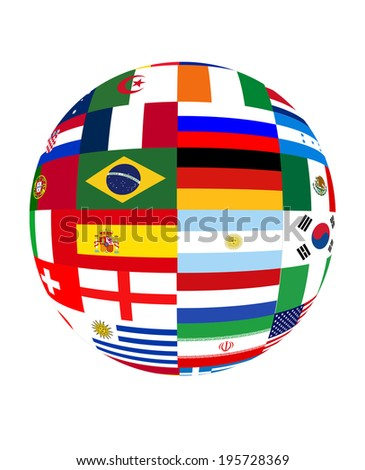 Ball with world flags - stock photo