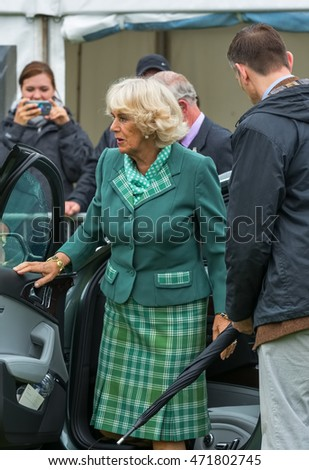 BALLATER, ABERDEENSHIRE, SCOTLAND - 11 AUGUST: This is Camilla, Duchess of Cornwall, wife of Charles, Prince of Wales at Ballater Highland Games, Aberdeenshire, Scotland on 11 August 2016
