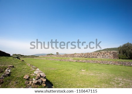 Ballcourt . Ancient ruins of Tula de Allende, home of the Atlantean figures and  the characteristic chacmools. In the state of Hidalgo, Mexico. - stock photo