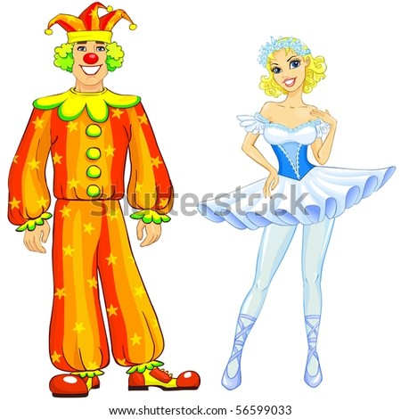 Ballerina and clown couple. - stock photo