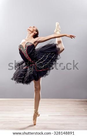 ballerina in ballet pose, classical dance - stock photo