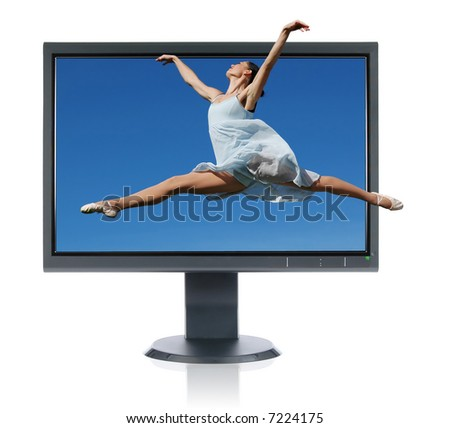 Ballerina jumping out of a monitor isolated on a white background