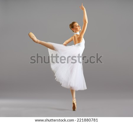 ballerina on pointe in ballet pose classical dance - stock photo