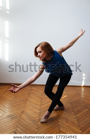 Ballet dancer exercising a balanced move