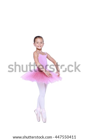 ballet dancer girl in pink pointe and tutu isolated on white, little balerina in quatrieme devant pose. Facing directly front working foot pointing to the front fourth position