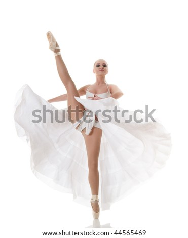 Ballet dancer isolated over white background - stock photo
