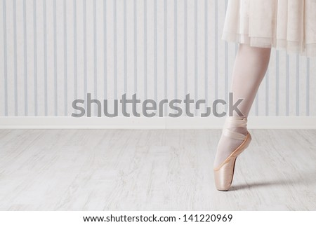 Ballet dancer on pointe - stock photo