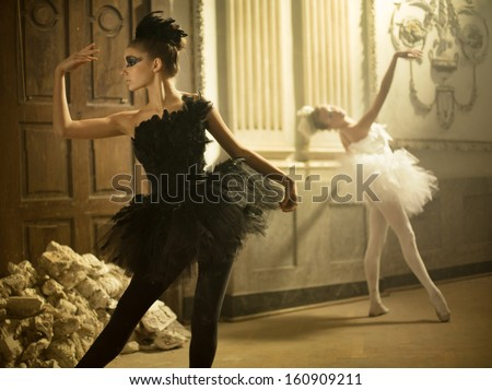 ballet dancers - stock photo