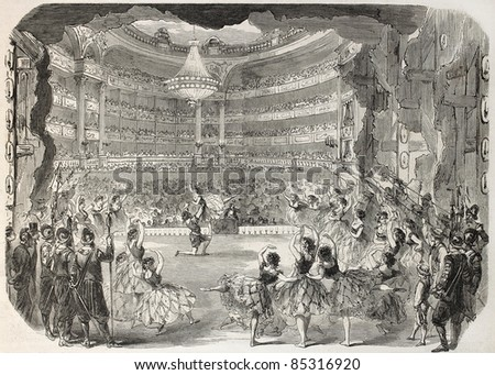 Ballet old illustration, view from backstage. Created by Godefroy-Durand, published on L'Illustration, Journal Universel, Paris, 1860. - stock photo