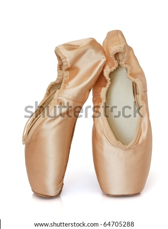 Ballet shoes, isolated in white  - stock photo
