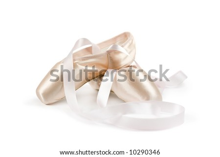 Ballet shoes on white background - stock photo