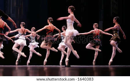 ballet spectacle with dancers on stage - stock photo