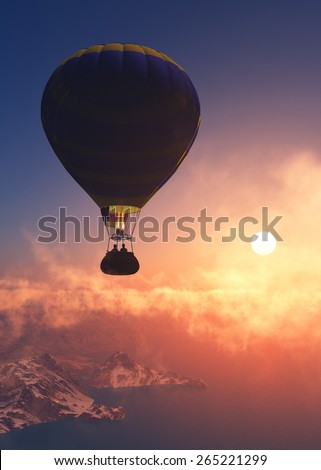 Balloon against the evening sky - stock photo