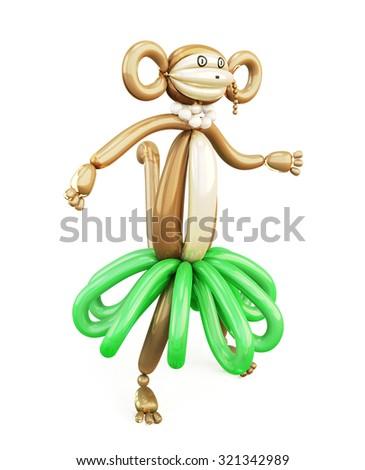 Balloon animal monkey isolated on white background. 3d render image. - stock photo