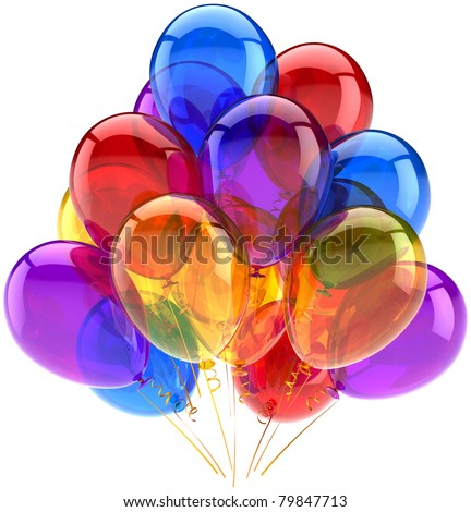 Balloon birthday party balloons decoration multicolor translucent. Joy happy fun positive abstract. Holiday anniversary retirement greeting card concept. 3d render isolated on white background - stock photo