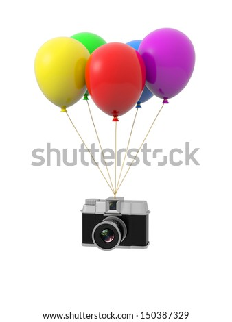 Balloon/ camera/hang/yellow/red/purpol/green/blue - stock photo