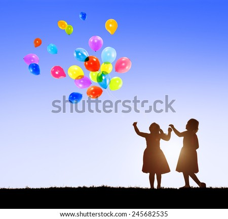 Balloon Children Child Childhood Cheerful Leisure Concept - stock photo