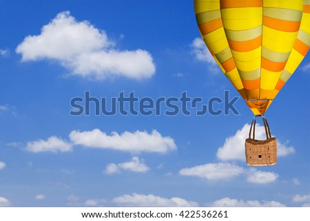 Balloon flying over rice field ,morning - stock photo