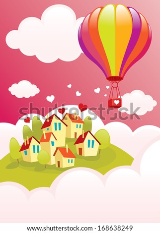 Balloon flying over the city/Air balloon over the city/illustration for Valentines Day