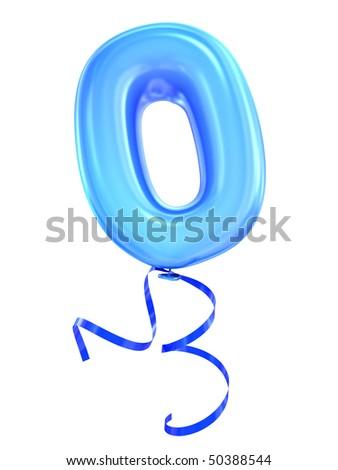 Balloon font number zero - stock photo