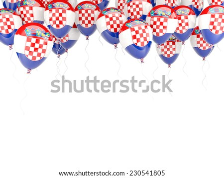 Balloon frame with flag of croatia isolated on white