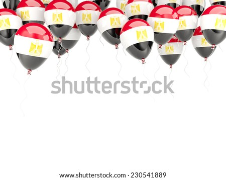 Balloon frame with flag of egypt isolated on white - stock photo