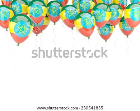 Balloon frame with flag of ethiopia isolated on white - stock photo