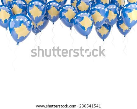 Balloon frame with flag of kosovo isolated on white - stock photo