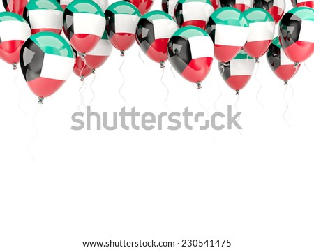 Balloon frame with flag of kuwait isolated on white - stock photo