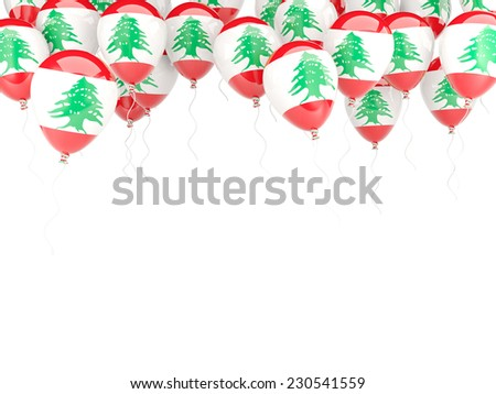 Balloon frame with flag of lebanon isolated on white - stock photo