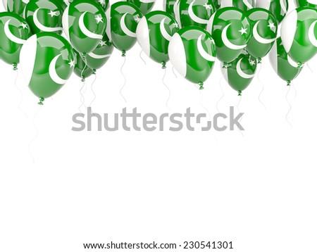 Balloon frame with flag of pakistan isolated on white - stock photo