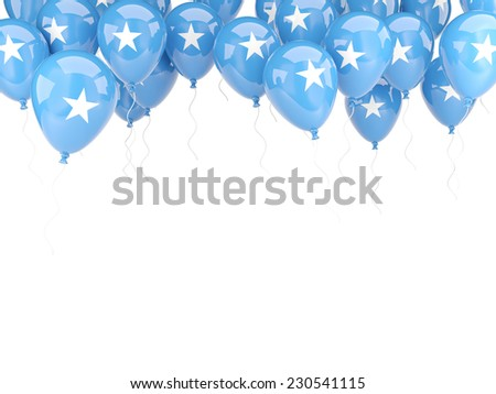 Balloon frame with flag of somalia isolated on white - stock photo