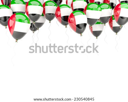 Balloon frame with flag of united arab emirates isolated on white - stock photo