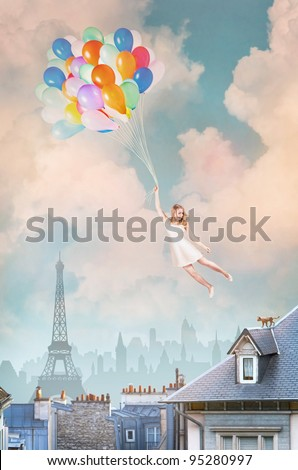 Balloon Girl - stock photo
