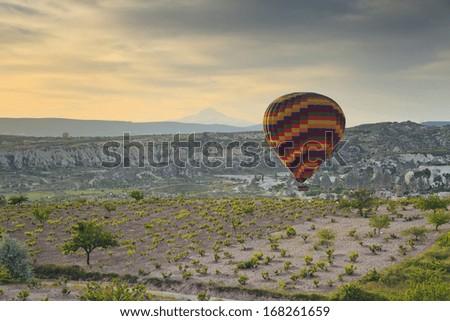 Balloon in Cappadocia over the vineyards - stock photo