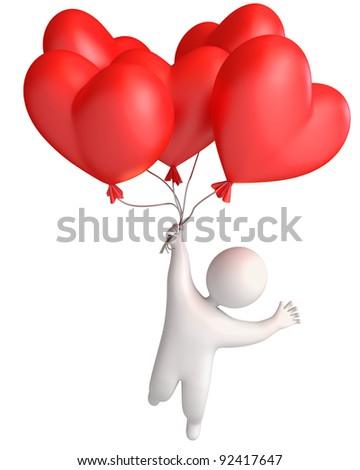 Balloon in heart shape. Man flying in a balloon. Holding a balloon. 3d render - stock photo