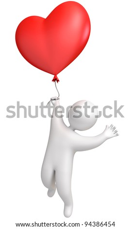 Balloon in heart shape. Man flying in a balloon. Holding a balloon. 3d render - stock photo